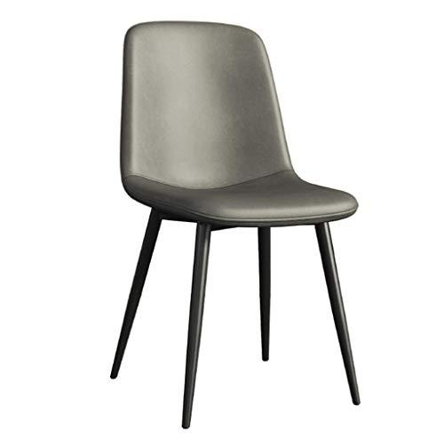 Dining Chair Wohnzimmer Schlafzimmer Zähler Büroecke Freizeit Rezeption Stuhl mit Faux Matte Leder Gepolsterte Sitz und Metallbeine, Armless YMIK (Color : Gray)