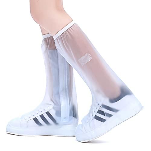 QYTS Funda impermeable para botas de lluvia, repetible y duradera, antiesquís, protector de pierna alta, portátil, para viajes, con cremallera, para zapatos