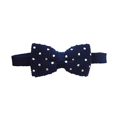 Tyler & Tyler. Noeud papillon tricot. Dandy style, Laine. Bleu, Pois. Fabriqué en Italie.