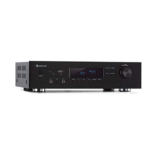 auna AMP-H260 5.1 - Receiver Amplifier Verstärker Equalizer, 2 x 100 Watt + 3 x 20 Watt RMS, Bluetooth-Funktion, USB-Port, SD-Slot, Opt. & Coax. Digital-In, 2 x HDMI-In / 1 x HDMI-Out, schwarz