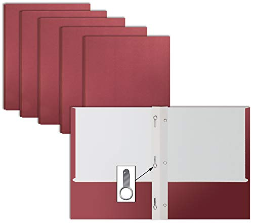 Burgundy Paper 2 Pocket Folders with Prongs, 50 Pack, by Better Office Products, Matte Texture, Letter Size Paper Folders, 50 Pack, with 3 Metal Prong Fastener Clips, Burgundy Red