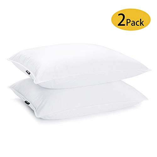 JA COMFORTS Duck Feather and Down Bed Pillows for Sleeping(2 Pack)- Standard/Queen(20IN×28IN), Hotel Collection, Natural Filling, Natural Cotton Cover, White