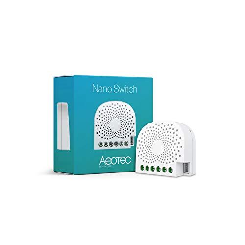 AEOTEC Nano Switch on off Controller, Z-Wave Plus in-Wall Smart Switch per Domotica, ZW139 10A Neutro Richiesto, Funziona con Alexa