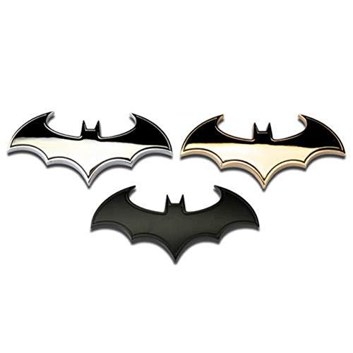 3D Chrom Metall Fledermaus Auto Logo Auto Aufkleber Batman Abzeichen Emblem Schwanz Aufkleber Mode (Silber, Einheitsgröße)