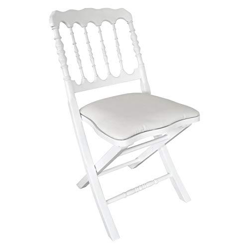 MobEventPro Chaise Pliante Blanche en Bois