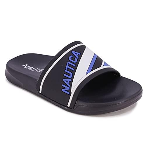 Nautica Kids Youth Slip-On Sandal Athletic Slide - Big Kid - Little Kid Boys - Girls-Hani Youth-Black Cobalt-13