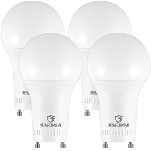 Great Eagle LED GU24 Base, A19 Shape, 15W (100W Equivalent), Dimmable, 5000K Daylight, 1500 Lumens, UL Listed, Twist-in Light Bulb (4-Pack)