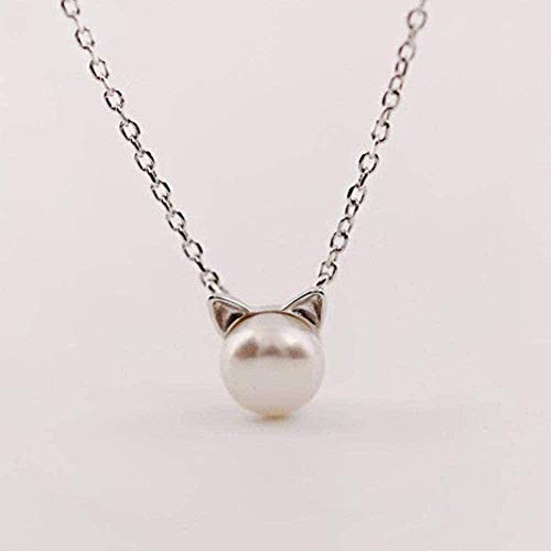 ZPPYMXGZ Co.,ltd Necklace Necklaces Silver Pendant Necklace for Women Fashion Jewelry Comes with Gift Box Best Holiday Or Birthday Gift for Women and Girls-Pearl Cat Ears