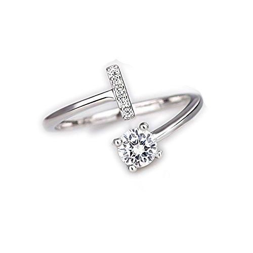Bague pour femme bien-aimée avec cristaux et solitaire avec lettre initiale plaquée rhodium - taille ajustable - toutes les lettres de l'alphabet - convient de la taille 9 à 20 - argent (D)