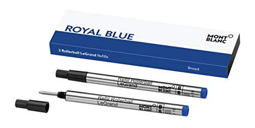 Montblanc Tintenroller Minen Royal Blue 124497 – Blaue Ersatzmine für Meisterstück LeGrand Breit – 2 x Montblanc Refill Rollerball B