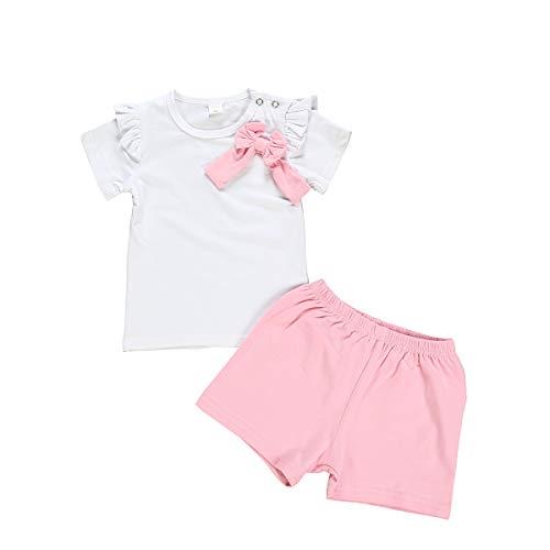 Borlai Baby Girls Short Sleeve Cotton Outfits Set Cute Ruffled Bowknot T-Shirt + Shorts