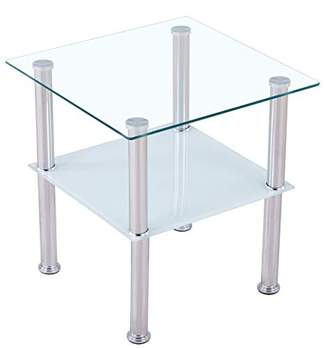 CasaXXl Couchtisch Glas mit Sicherheitsglas & Facettenschliff - Glastisch perfekt geeignet als Beistelltisch/Wohnzimmertisch 40x40x47cm (Eckig, Satiniert)