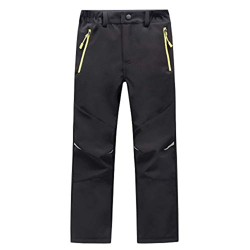 LANBAOSI Kids Boys Girls Waterproof Outdoor Hiking Pants Warm Fleece Lined Black
