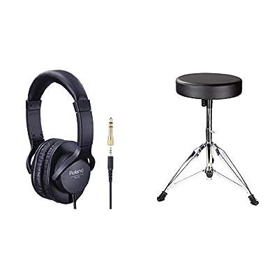 RockJam DP-001 Adjustable Drum Stool Drum Throne with Padded Seat & Roland RH-5 HeadphOnes - Monitor HeadphOnes by