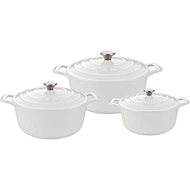 La Cuisine PRO 6 Piece Enamaled Cast Iron Covered Dutch Oven Set, White