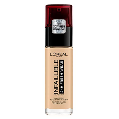L'Oréal Paris Infaillible 24H Fresh Wear Make-up in Nr. 100 Linen, hohe Deckkraft, langanhaltend, wasserfest, atmungsaktiv, 30 ml