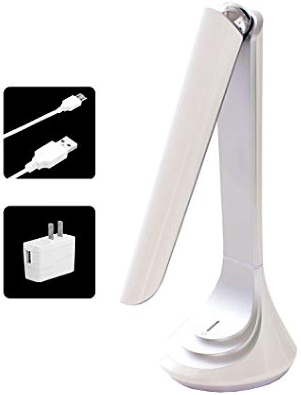 YLLTD 4.5WUSB Ladende Faltende LED Eye-Caring Tisch Schreibtisch   Lampe Zum Lernen Lesen   Bett Schlafzimmer   Schlafsaal, Touch Control Dimmen Desktop-Nachtlicht,Weiß