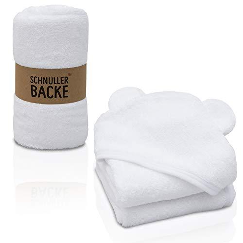Schnullerbacke - Baby Kapuzenhandtuch 100% Baumwolle - Kein Kratzen - weißes Baby Handtuch mit großer Kapuze und süßen Ohren - Handtücher & Babyhandtuch Jungen und Mädchen zum Baden (weiß, 75 x 75)