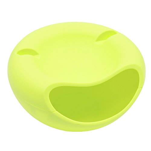 Gosear Nut Bowl Dual Layer Nut Bowl Funny Smile Style Pistachios Dish Tray Candy Snacks Melon Seeds Holder Office Organizers and Storage Box Plate with Shell Holder Phone Supporting Slot Green