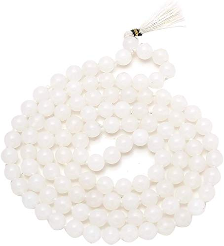 Jaipur Gems Mart Natürliche AAA Regenbogen Mondstein 108 Mala Halskette | Mondstein Mala | 108 Gebet Wulstige Mala Halskette | Handgeknüpft Mala Armband | Japa Mala | 8mm Perlen | Meditation Tassel