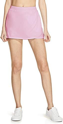 TSLA Women's Athletic Skorts Lightweight Active Tennis Skirts, Workout Running Golf Skirt with Pockets Built-in Shorts, Wrap Skorts(fbk03) - Beige Pink, Large