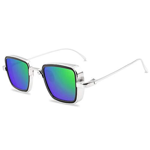 NJJX Gafas De Sol Clásicas Steampunk De Moda Para Hombres Y Mujeres, Gafas De Sol Cuadradas Pequeñas Con Marco De Metal Vintage, Gafas Plateadas, Espejos, Verdes