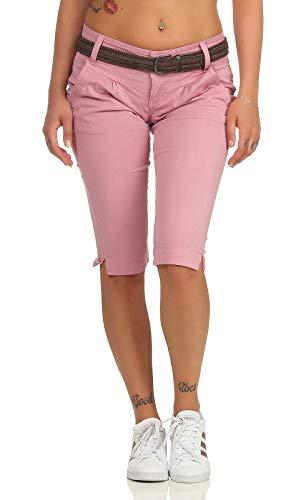 Fresh Made Damen Capri Chino Shorts LFM-154 3/4-Hose mit Gürtel Old Rose M