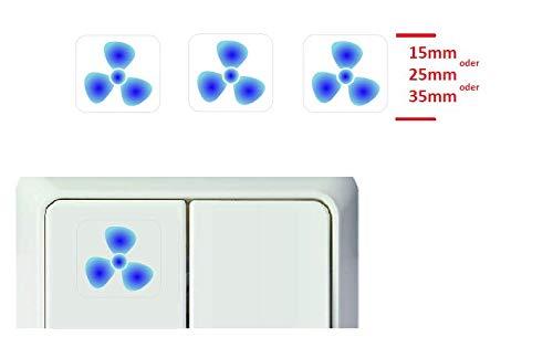 Generisch 3 Stück Schalter Aufkleber Ventilator Symbol Schalteraufkleber (RT25/6) (25 x 25 mm)