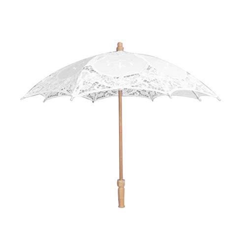 PRETYZOOM Paraguas de Boda de Encaje Mango de Madera Paraguas Vintage Sombrilla de Encaje Paraguas Dama de Honor Paraguas para Novia de La Boda Niña de Las Flores