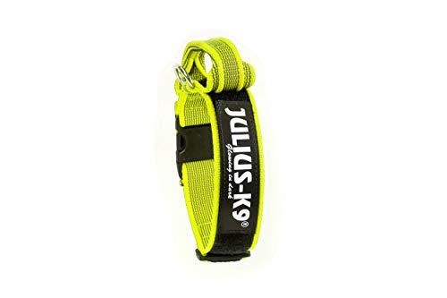 Julius-K9 Collar Color & Gray con la manija, la cerradura de seguridad y el remiendo intercambiables, 40 mm 38/53 cm, Neón/Gris
