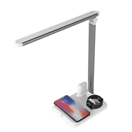 Escritorio LED con lámpara de carga inalámbrica rápida, conexión inalámbrica gratuita, apagado automático, protección contra sobrecalentamiento, escritorio simple, USB, fácil de transportar, plateado