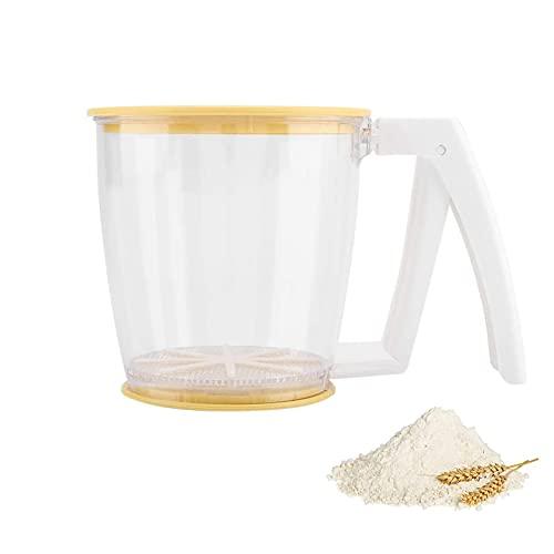 Tamizador de Harina Tamiz en polvo Tamiz de Malla para Hornear Herramientas Una Sola Mano Tamiz de Harina de Cocina Tamizador de Harina Tamizador de Polvo Tamiz para Repostería para Harina y Azúcar