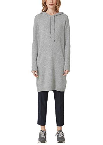 s.Oliver RED Label Damen Lässiges Strickkleid mit Kapuze Silver Grey Melange 46