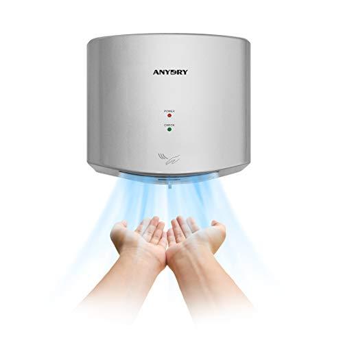 anydry®AD2630S Secador de Manos Compacto automático de Alta Velocidad,Comercial y hogar,Cubierta de ABS,1400W,Plata