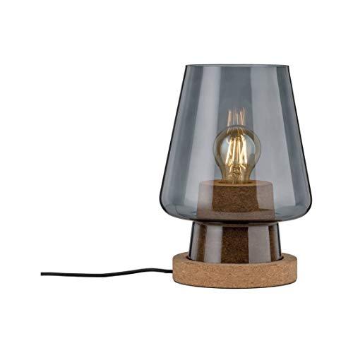 Paulmann 79736 Neordic Iben Tischleuchte max. 1x20W Tischlampe für E27 Lampen Nachttischlampe Rauchglas 230V Glas/Kork ohne Leuchtmittel
