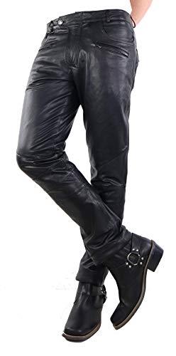 Unbekannt Lederhose Ben 2 - Hose im 5-Pocket Stil (Jeans Optik) aus echtem Ziegen Leder in schwarz oder braun (Schwarz, 34)