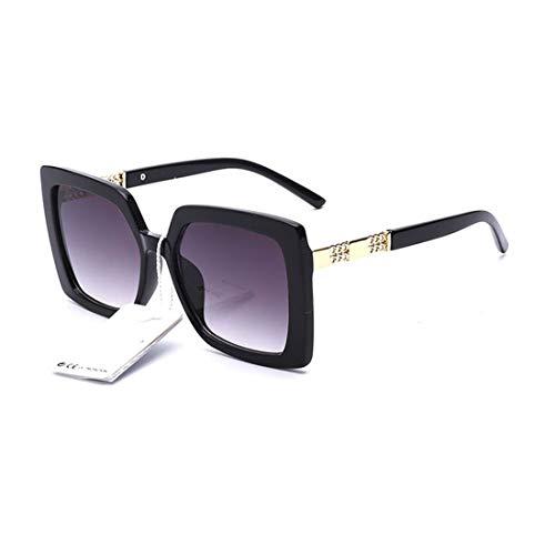 elegante Jewel-Detail Frames Square Oversized Sunglasses for Women (Black)