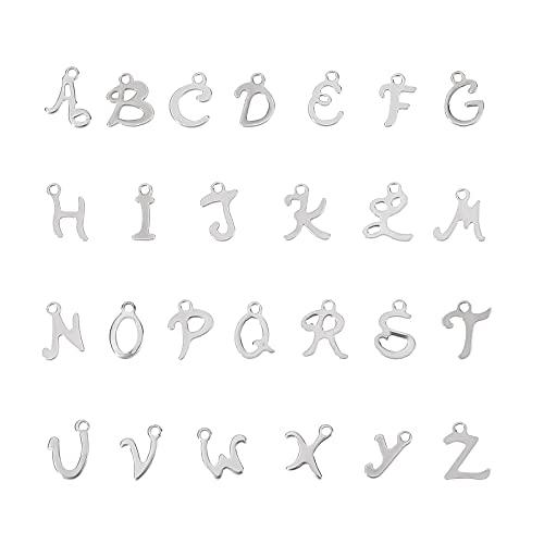 UNICRAFTALE Circa 104 pz 26 Stili 304 ciondoli con Lettere in Acciaio Inossidabile, Design della personalità del Taglio Laser per La Realizzazione di Gioielli con Ciondoli