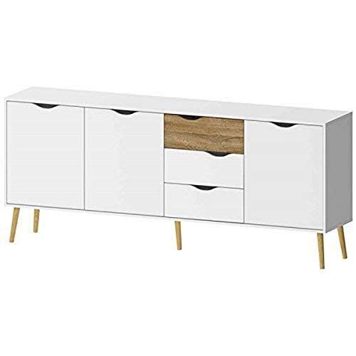Tvilum Diana Sideboard with 3 Doors and 3 Drawers, White/Oak Structure