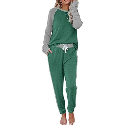 Geagodelia Tuta Donna Completa 2 Pezzi Tuta Sportiva a Blocchi di Colore Pigiama a Casa per Jogging Palestra Tuta da Ginnastica Casual Ragazza Invernale (Verde, XL)