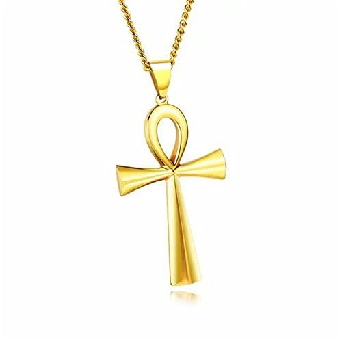 HHW Collar De Amuleto De Vida con Colgante De Cruz De Anka De Faraón Egipcio Vintage, Moda para Hombres Y Mujeres, Collar Religioso Simple, Joyería, Oración Y Regalo,Oro