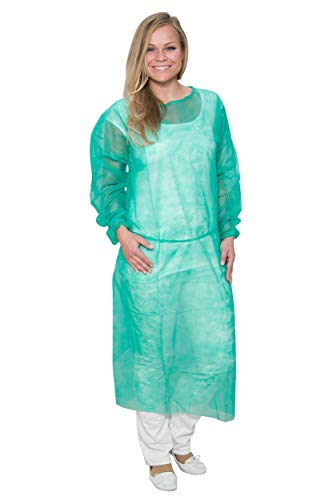 Lot de 10 blouses de protection jetables non tissées vertes resserrées poignets Dimensions : 130 x 160 cm (taille unique). Qualité professionnelle