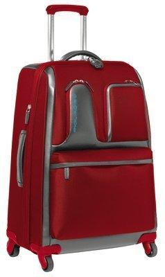 Trolley medio Piquadro Globe rosso/grigio espandibile con lucchetto TSA e portabiti BV2047GL/RGR
