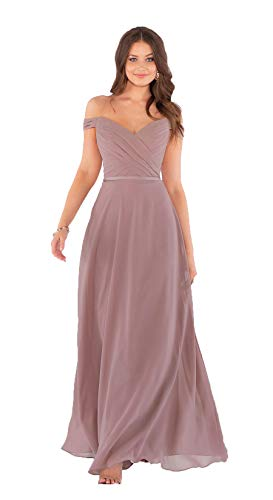 Ubride Women's Off Shoulder Bridesmaid Dresses Long Ruched V Neck Chiffon Prom Gowns Dusty Rose