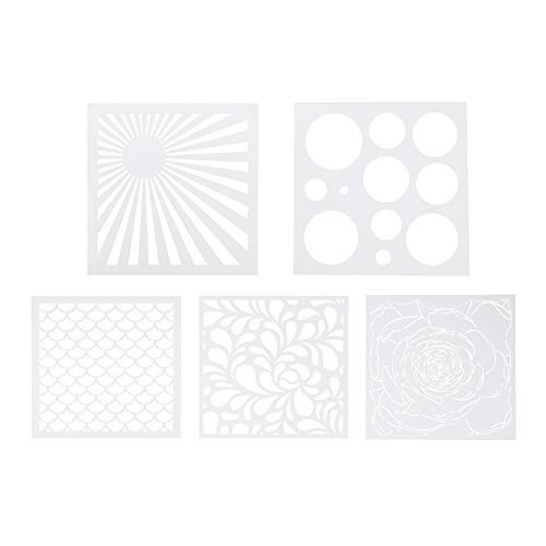 WANDIC - Juego de 5 plantillas de estampados, paquete de plantillas troqueladas para pintar con diseños variados, para proyectos artísticos y de manualidades