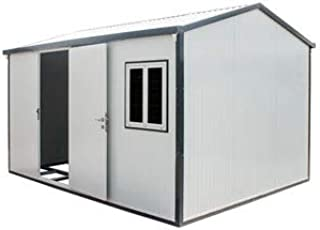 Duramax Tiny Home (13' x 10') Gable Top Roof Insulated Building, for Garden, Backyard, Outdoor Use   Heavy-Duty Galvanized Walls   Lockable Security   DIY Construction