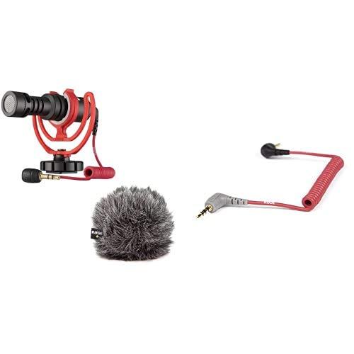 Rode VideoMicro kompakt On Camera Microphone - sortierte Farben & Rode Anschlusskabel auf Handy (0,4 m, 3,5 mm Klinkenstecker) für VideoMic GO Smartphone/Tablet rot