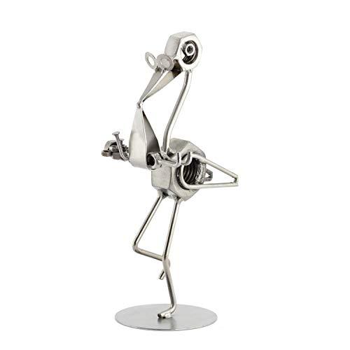 Steelman24 I Schraubenmännchen Storch Mit Baby I Made in Germany I Handarbeit I Geschenkidee I Stahlfigur I Metallfigur I Metallmännchen