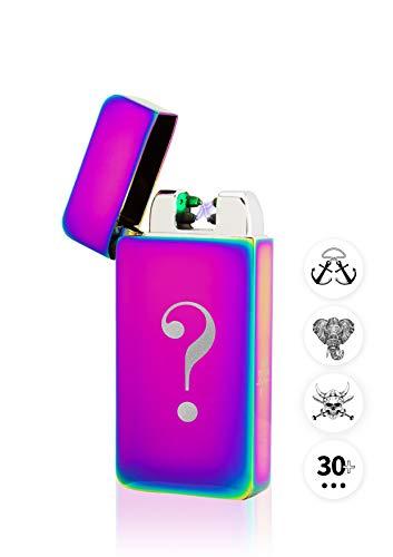 TESLA Lighter T10 Lichtbogen Feuerzeug Elektronisch, mit Wunsch-Gravur, personalisiert als Geschenk zu Weihnachten, Geburtstag etc, wiederaufladbar per USB inkl. Geschenkverpackung Regenbogen