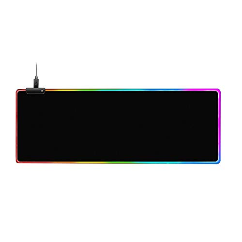 RGB Gaming Mouse Pad, Upgraded Mouse Mat Soft Oversized Glowing LED Extended Mousepad with Anti-Slip Rubber Base & Smoothly Waterproof Surface for Laptop Computer PC Games, Home/Office (31.5X 11.8in)
